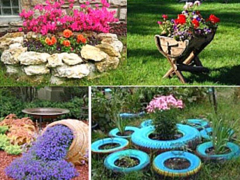 Садовый дизайн из подручных материалов своими руками: устройство клумб из шин, камней и других средств