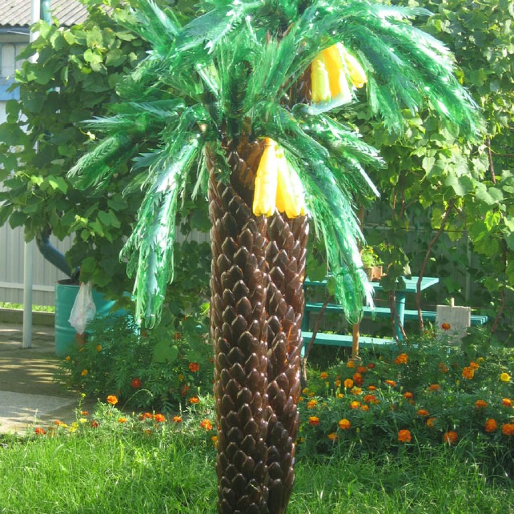 Как из пластиковых бутылок сделать пальму пошагово