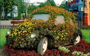 Оформление цветника на старой машине