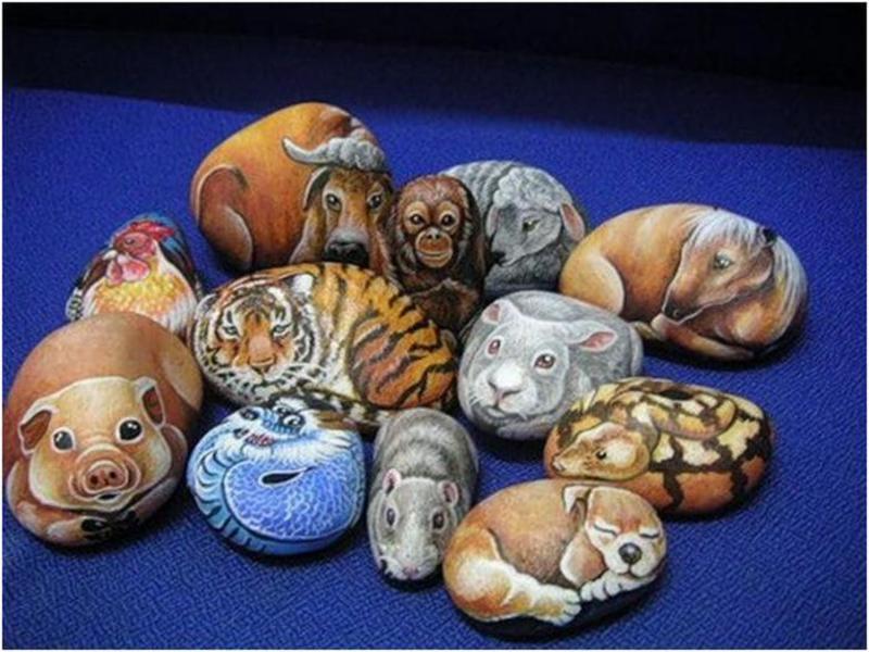 Рисунки по камню с изображением животных фото