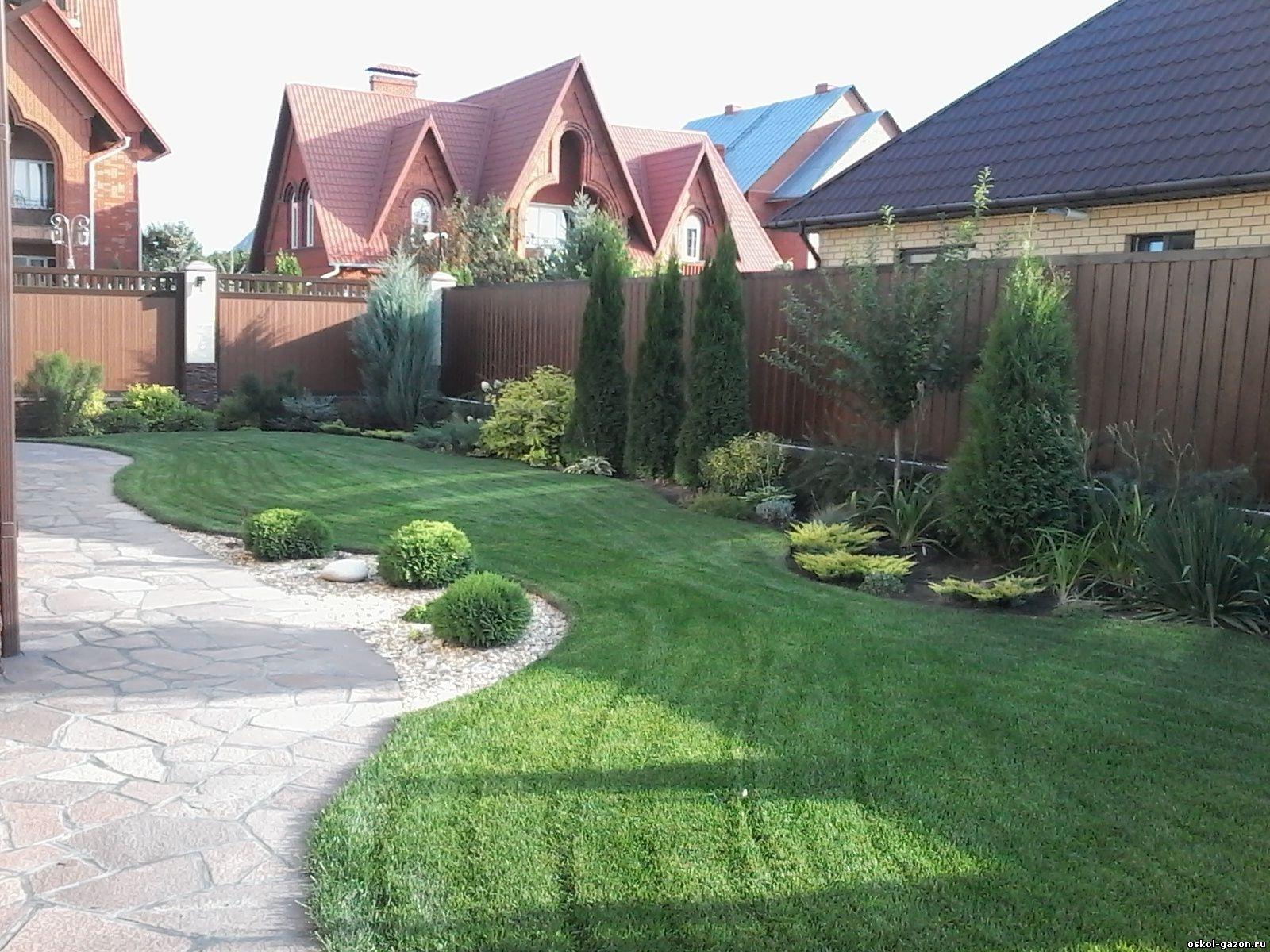 дизайн газона перед домом фото