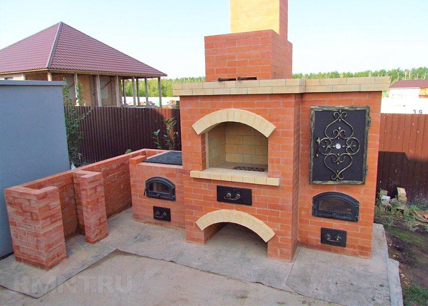 печка с мангалом из кирпича своими руками